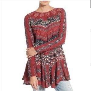 Free People Red Patterned Top